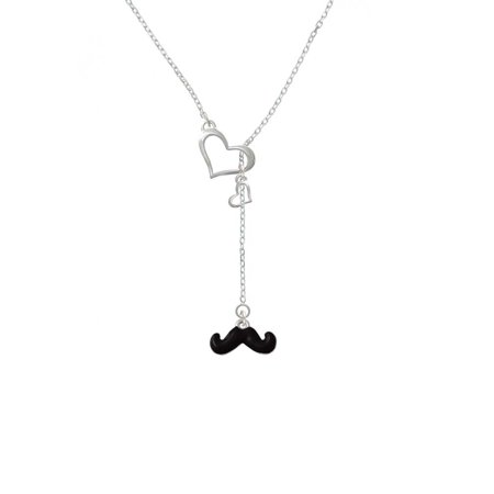 Silvertone Small Black Enamel Mustache - In My Heart Lariat Necklace