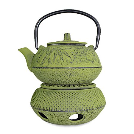Bamboo Cast Iron Teacup (Iron tea pot + Warmer ~ Japanese Antique 24 fl oz Green Pine Plum Bamboo Cast Iron Teapot Tetsubin with Infuser -D )