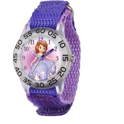 Disney Sofia Girls' Plastic Case Watch, Purple Nylon Strap