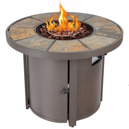 Propane Steam Table - Costway 32'' Round Outdoor Propane Gas Fire Pit Table 50,000 BTUs Patio Heater With Cover