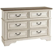 Ashley Furniture Realyn 6 Drawer Double Dresser in White and Brown