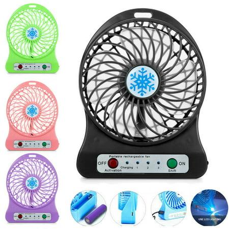 Portable Mini Fan Rechargeable LED Light Fan Air Cooler Mini Desk USB Fan +18650 Battery (Led Fans)
