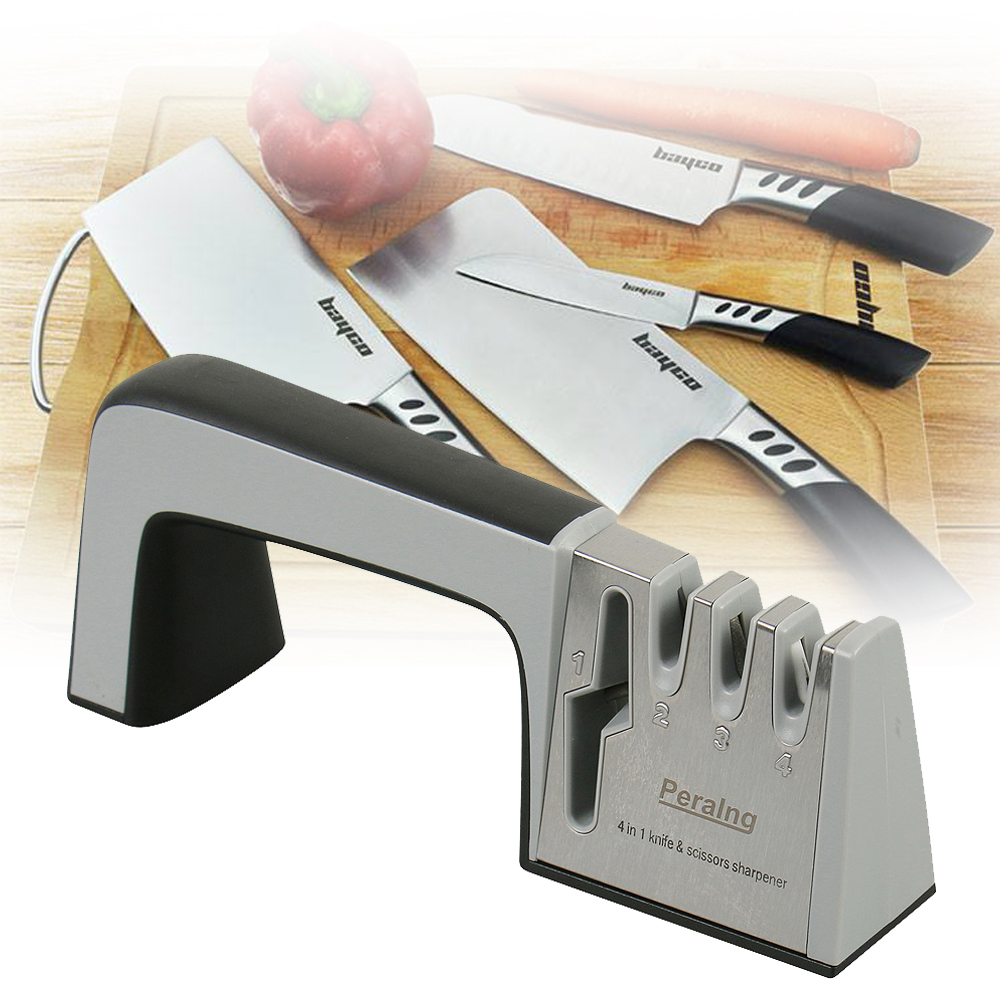 Peralng Knife Sharpening System, 4 in 1 Knife Scissors Sharpener Maintaining Kitchen & Sport Knives, Kitchen Shears