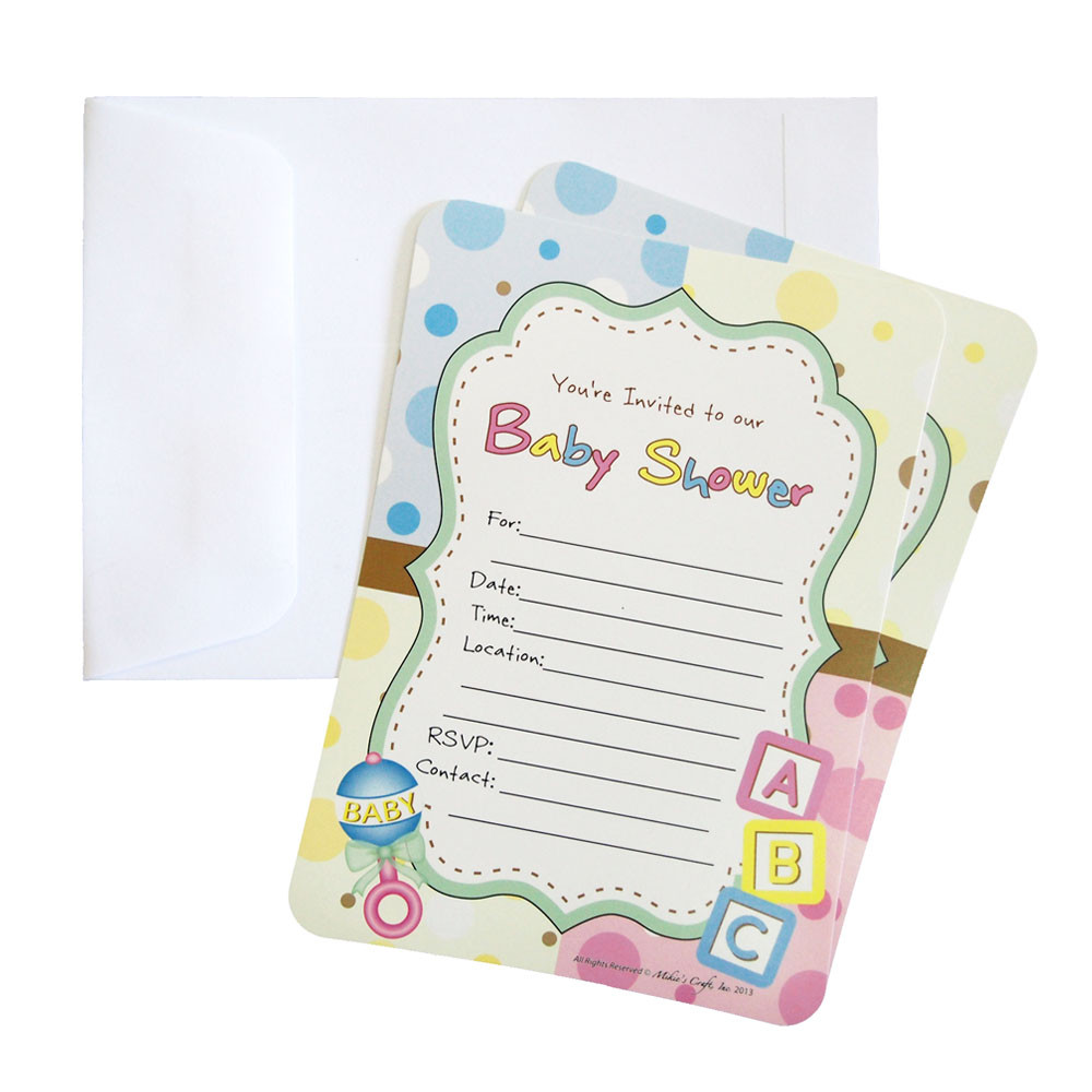 Baby Shower Invitations, 12-Piece, 7-Inches, ABC Blocks Baby Rattle