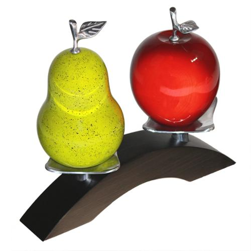 Artesana Apple and Pear on Wooden Twin Bridge with Pewter Platforms Pear Green +Apple Red on Pewter Bridge