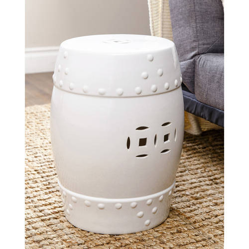 Devon and Claire Madera Ceramic Garden Stool, Multiple Colors