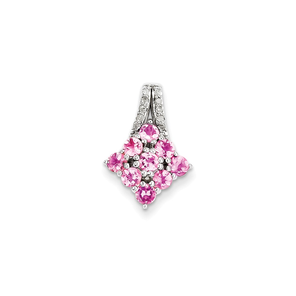 925 Sterling Silver (0.06cttw) Diamond and Pink Tourmaline Square Pendant (19mm x 13mm) by