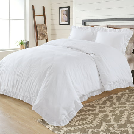 Better Homes & Gardens Full or Queen Raw Edge Ruffle White Duvet Cover Set, 3