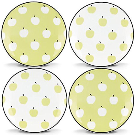 Kate Spade New York Wickford Orchard Green and White Porcelain Tidbit Plates, Set of