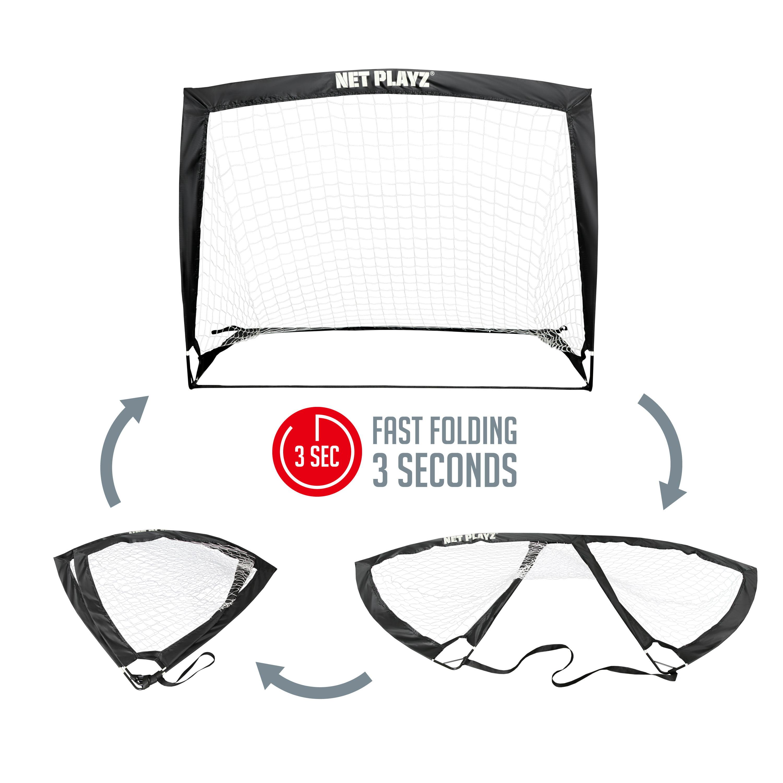 Net Playz 4'x3' Foldable Training Soccer Pop-Up Goals (Pair) - Walmart.com