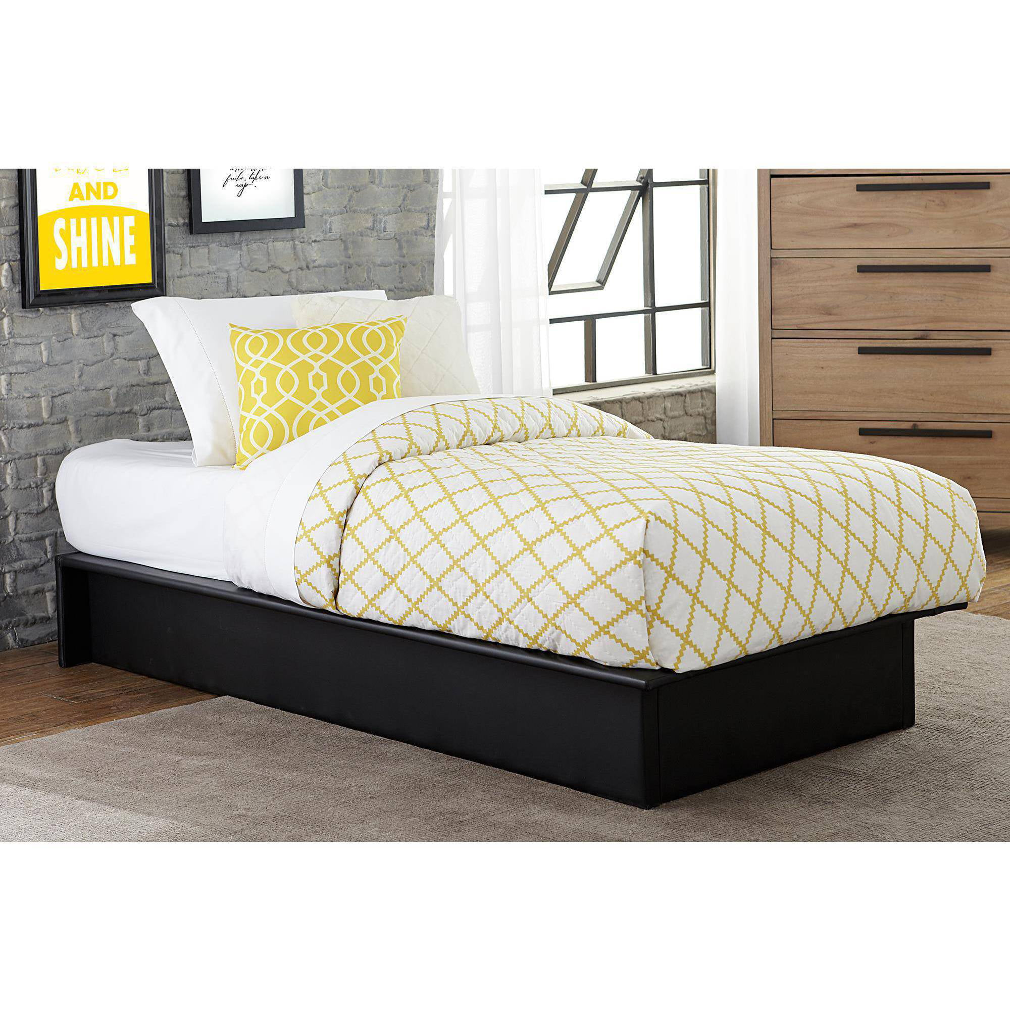 maven upholstered faux leather platform bed black multiple sizes  - maven upholstered faux leather platform bed black multiple sizes walmartcom