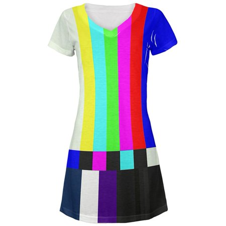 Halloween SMPTE Color Bars Late Night TV Costume All Over Juniors V-Neck - Museum Lates Halloween