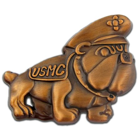 Pinmarts Antique Gold U S  Marine Corps 3D Bulldog Lapel Pin