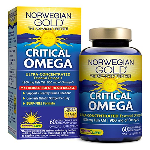 Norwegian Gold Critical Omega Ultra-Concentrated Omega-3 Softgels, Orange, 1200 Mg, 60 Ct