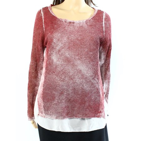 Wash Cotton Sweater - INC NEW Red Womens Size Large L Scoop Neck Acid Wash Sheer Hem Sweater