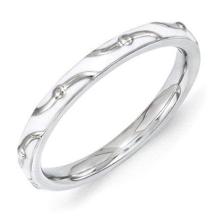 2.5mm Sterling Silver Stackable Expressions White Enamel Band ()