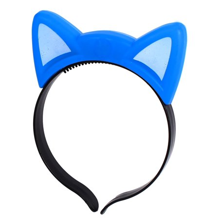 Unique Bargains Party Flash  Cat Ear  Blinking Hair Band Hairband Headband Blue