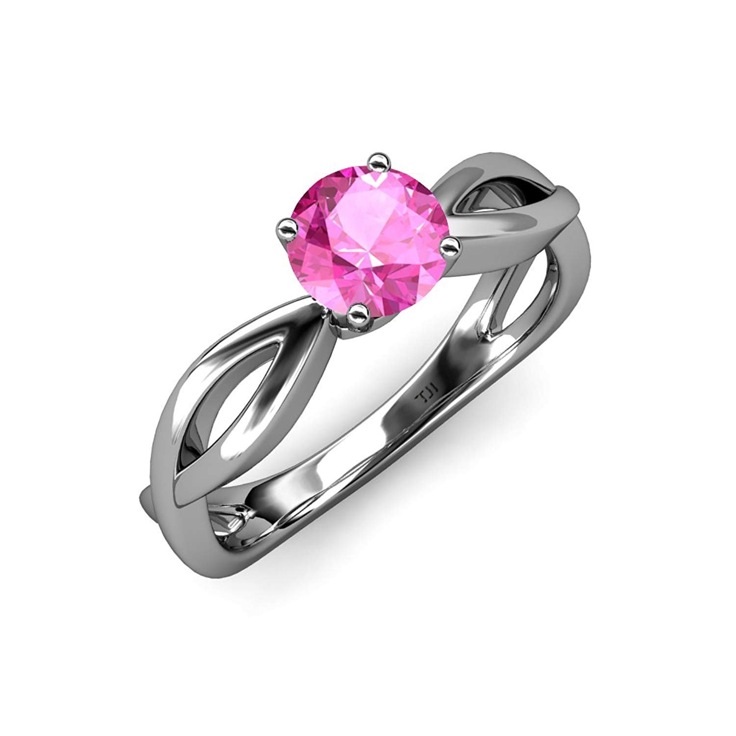 Pink Sapphire Infinity Solitaire Engagement Ring 0.95 ct in 14K White Gold by TriJewels