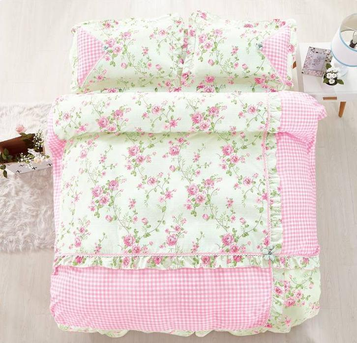 Traditional Floral Cotton Touch Comforter Set W/ Sheet HIGH QUALITY Light Pink - King Size