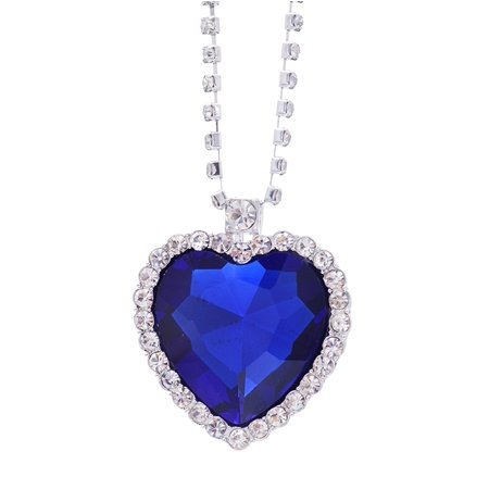 Crystal Filled Heart (Moive Titanic Pretty HEART OF THE OCEAN Big Czech Blue CRYSTAL Pendant)