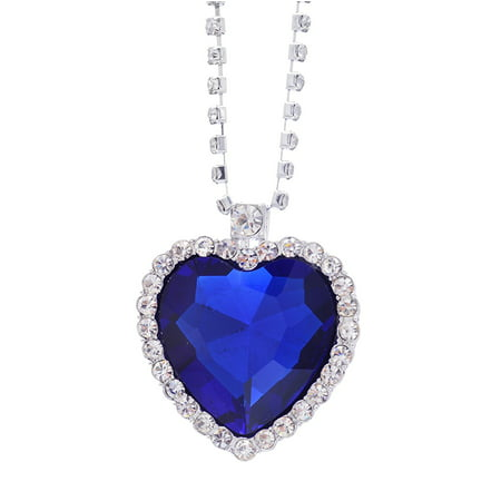 - Moive Titanic Pretty HEART OF THE OCEAN Big Czech Blue CRYSTAL Pendant NECKLACE