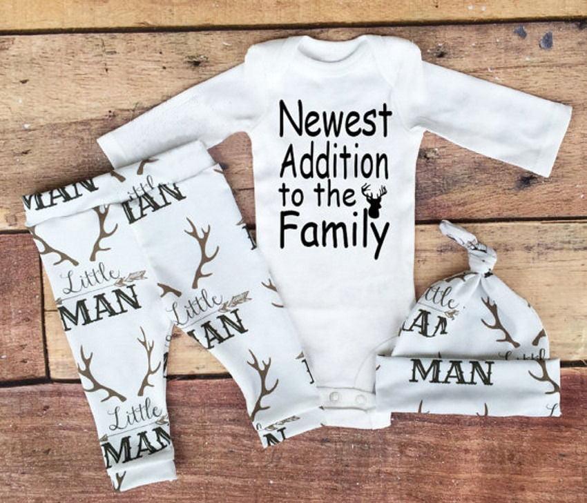 Cute Toddler Baby Boy Girl Deer Tops Romper Bodysuit+Pants Hat 3PCS Outfits Set
