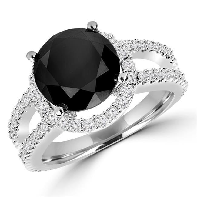 Majesty Diamonds MD160448-3.5 5 CTW Round Black & White Diamond Halo Fashion Engagement Ring in 14K White Gold - Size 3.5 - image 1 of 1