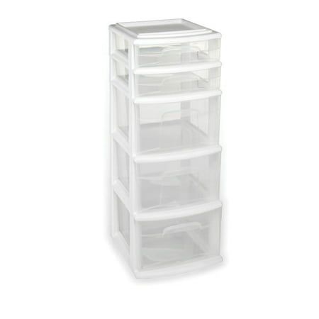 Homz 5 Medium Storage Drawer Tower, White w/ Clear Drawers, Set of 1 (Smt Tower)