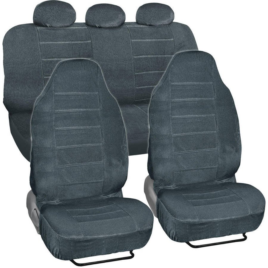 BDK Regal Dotted Cloth Car Seat Covers, 7pc, Front and Rear Full Set, High Back