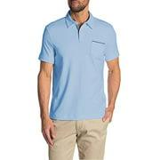 Tahari Mens Soft Knit Two Button Chambray Placket Polo Golf Shirt (Light Blue, XX-Large)
