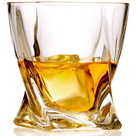 24% Lead Crystal Glass - Set of 6 Twist Whiskey Glass - Lead Free Crystal Old Fashioned Glasses – 10 Ounce Liqueur & Spirits Glasses