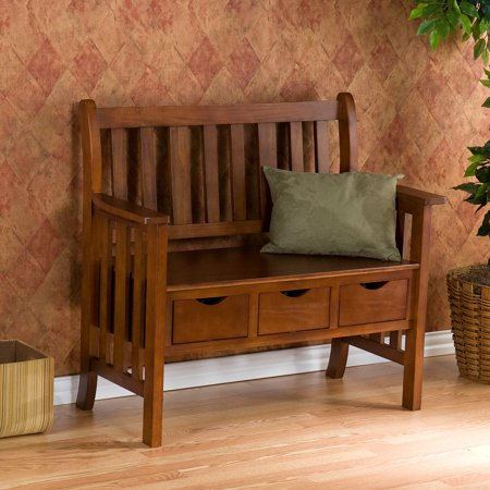 Southern Enterprises 3-Drawer Country Bench in Oak Finish