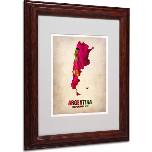 "Trademark Fine Art ""Argentina Watercolor Map"" Matted Framed Art by Naxart, Wood Frame"