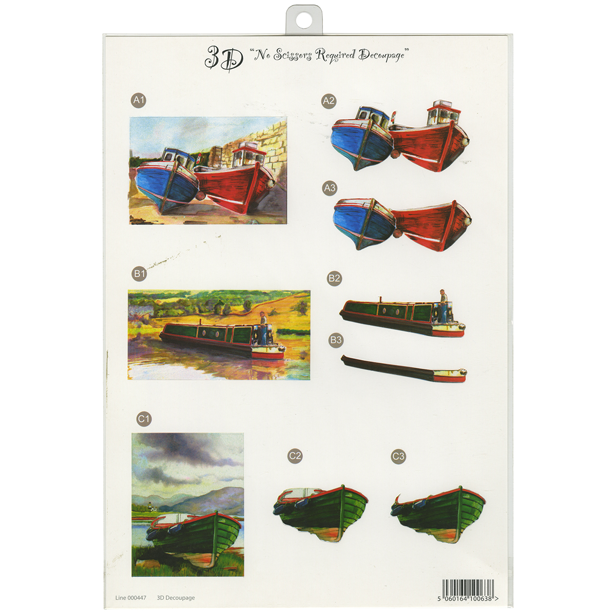 "3D Die-Cut Decoupage Sheet 8.3""X11.69""-Boats"