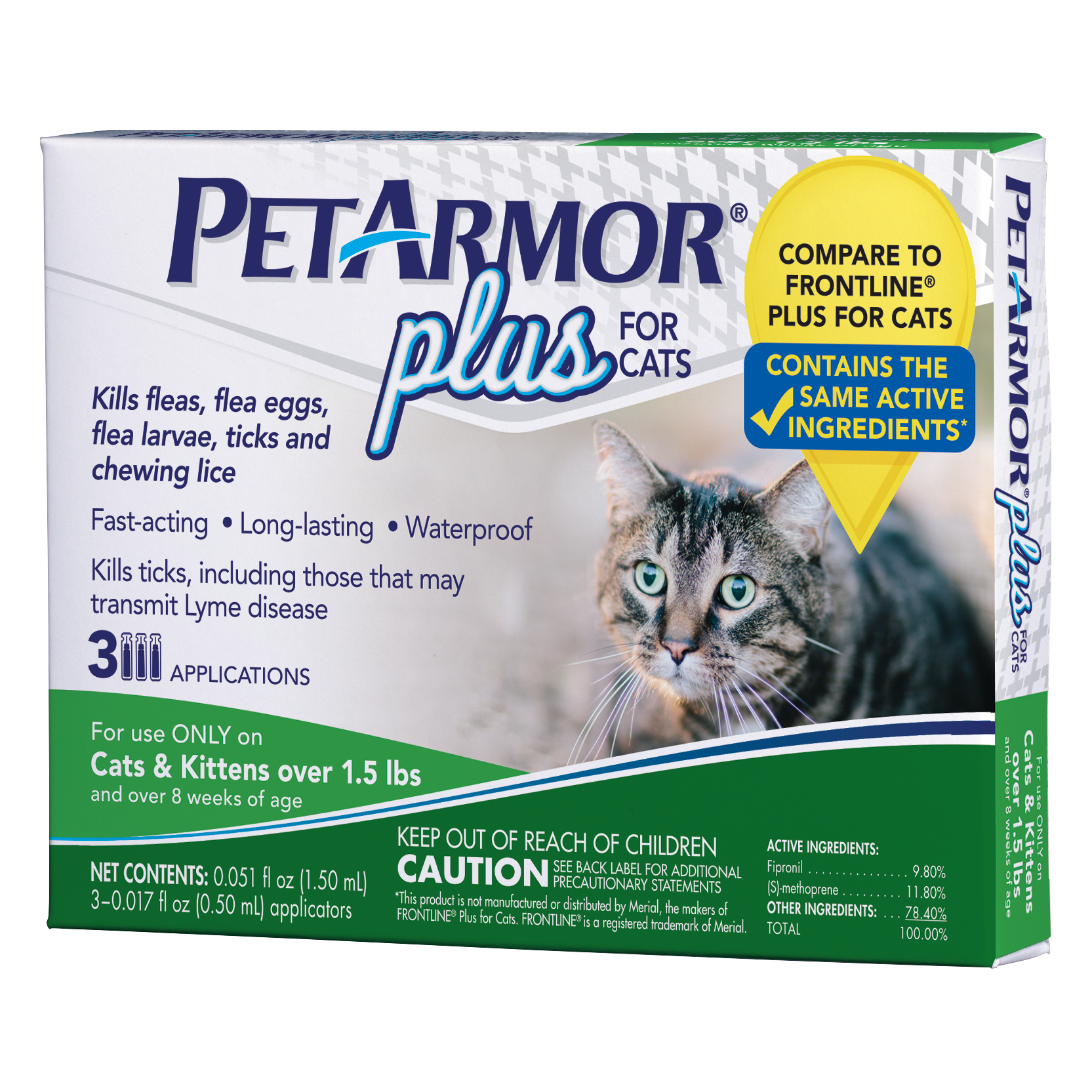 PetArmor Plus Flea & Tick Prevention for Cats with Fipronil (Over 1.5 Pounds), 3 Monthly Treatments