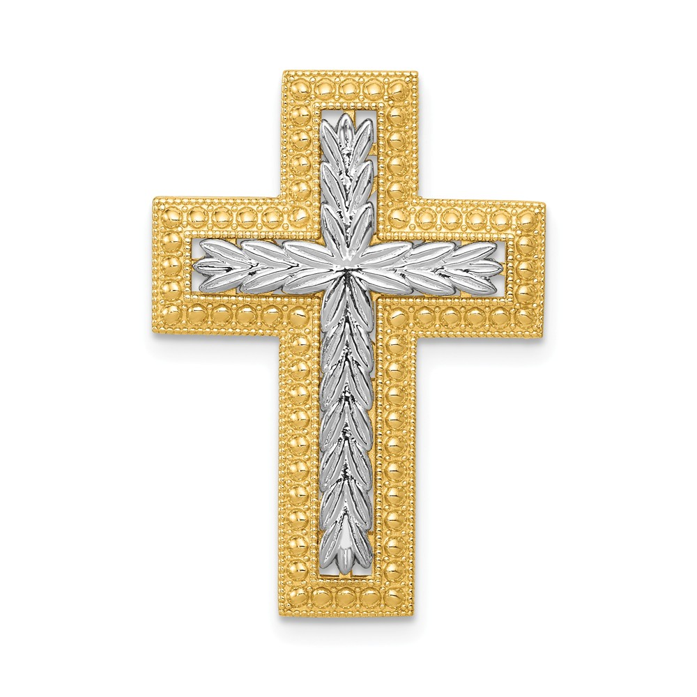 14k Yellow Gold Rhodium Polished Squared Cross Chain Slide Pendant