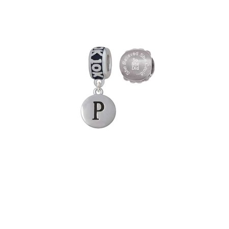 Disk Bead Set (Silvertone Capital Letter - P - Pebble Disc - 10K Run She Believed She Could Charm Beads (Set of 2) )