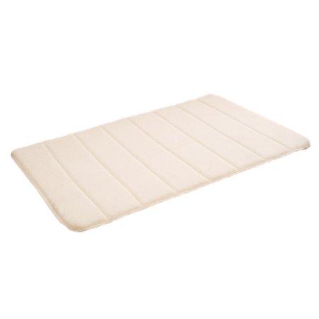 KABOER Coral Velvet Carpet Vertical Stripes Memory Foam Mat Absorbent Slip-Resistant Pad Bathroom Shower Bath Mats