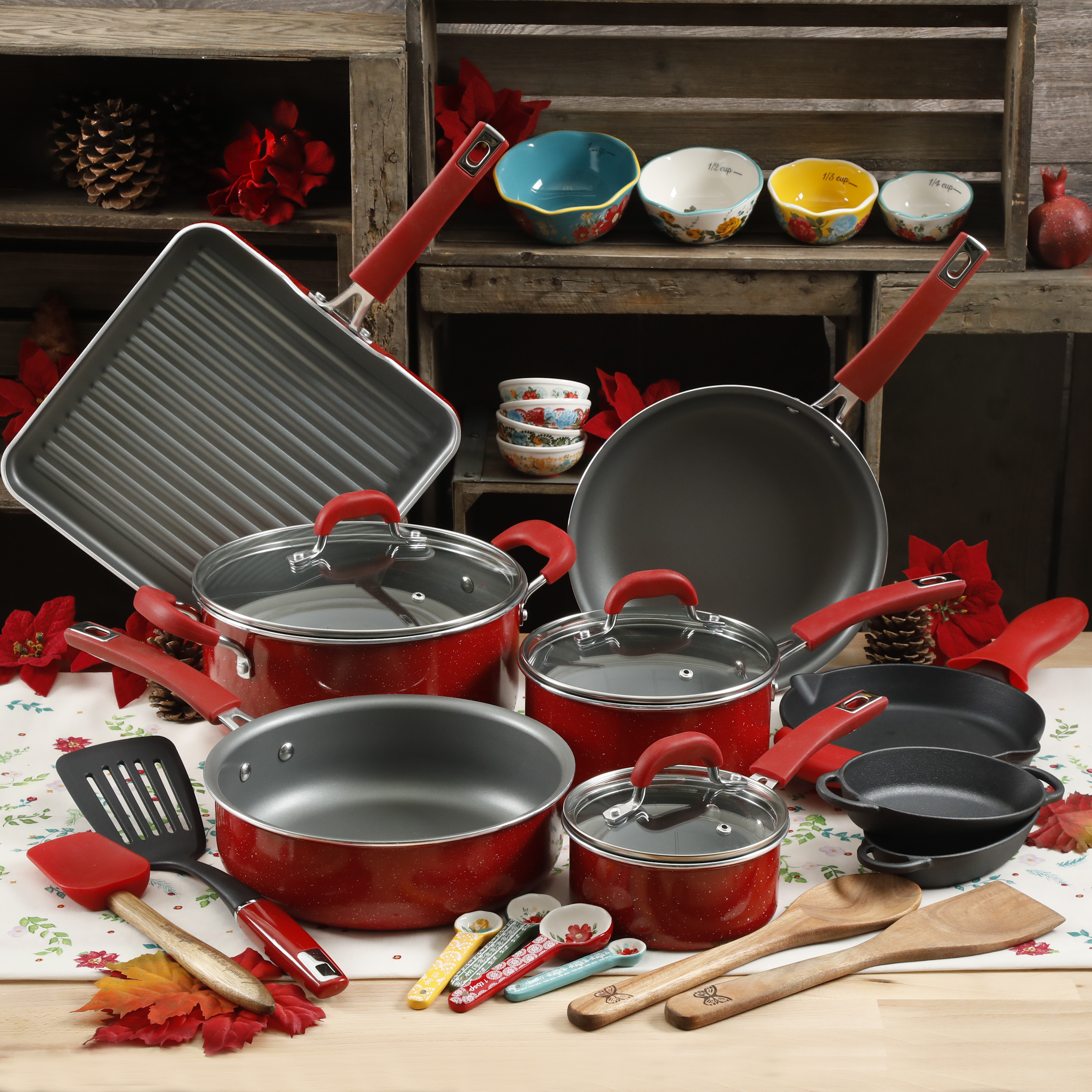 The Pioneer Woman 30pc Cookware Set - Red