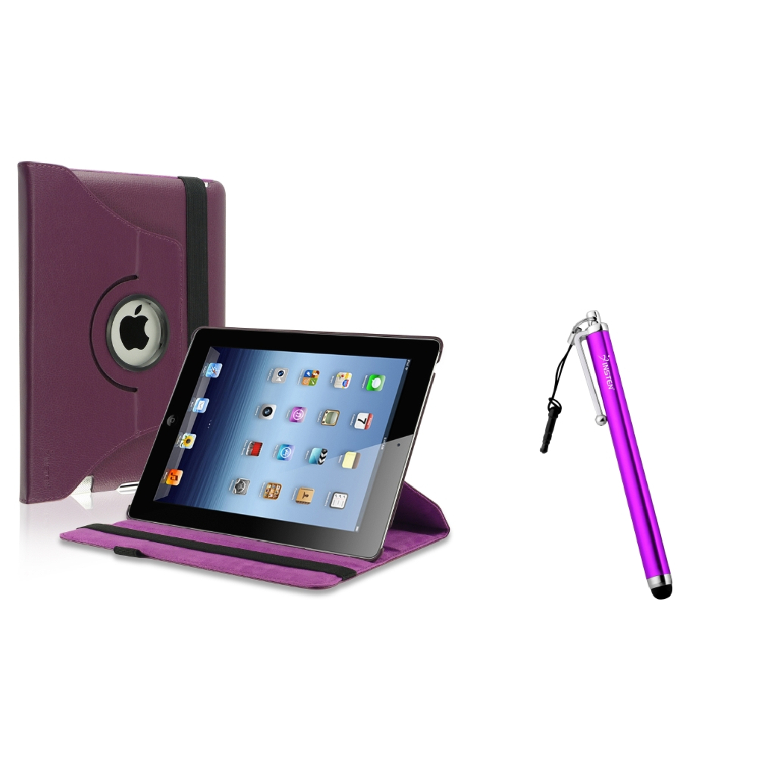 Insten Purple 360 Swivel Leather Case+Clip 3.5mm Screen Stylus Pen for iPad 2/3/4 4th (Supports Auto Sleep/Wake)
