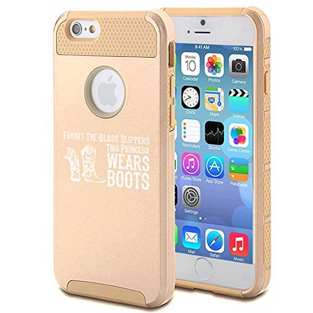 For Apple (iPhone 8) Shockproof Impact Hard Soft Case Cover Princess Wears Boots Cowgirl - Cowgirl Princess