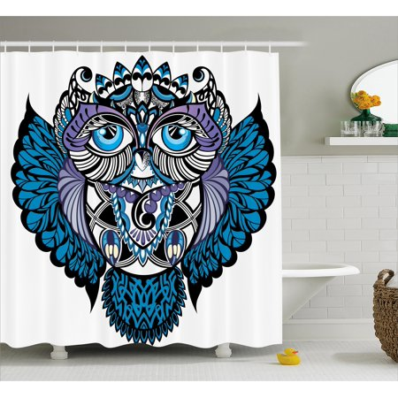 Tribal Shower Curtain, Owl Bird Animal with Paisley Tattoo Design with Big Blue Eyes Lashes Print, Fabric Bathroom Set with Hooks, Navy Blue and Purple, by Ambesonne