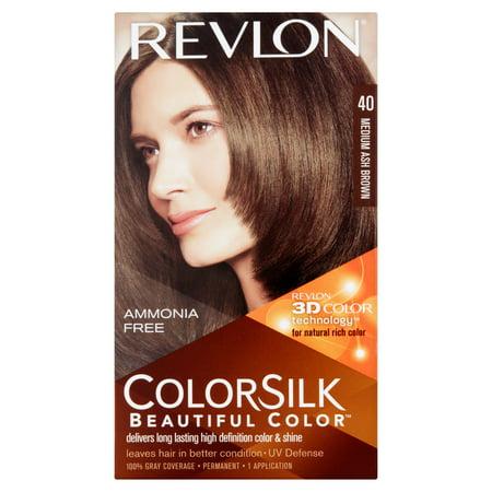 Revlon ColorSilk Beautiful Color 40 Medium Ash Brown Haircolor, 1 ...
