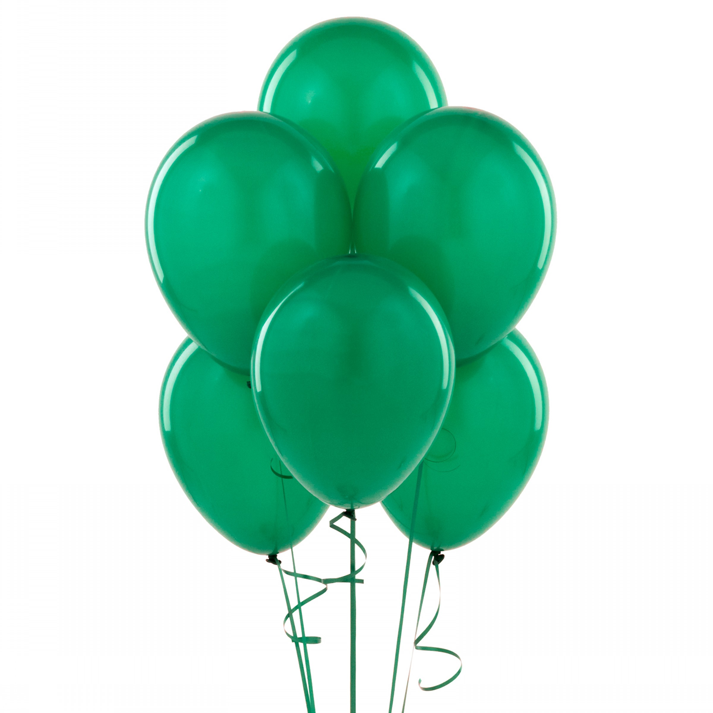 """72 Latex Balloons 12"""" with Clips and Curling Ribbon - Green"""