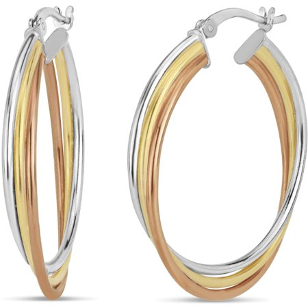 Triple Threat Hoops - 3Tone Sterling Silver and 18kt Gold Over Silver and 18k Rose Gold 30x4MM Triple Hoop Earrings