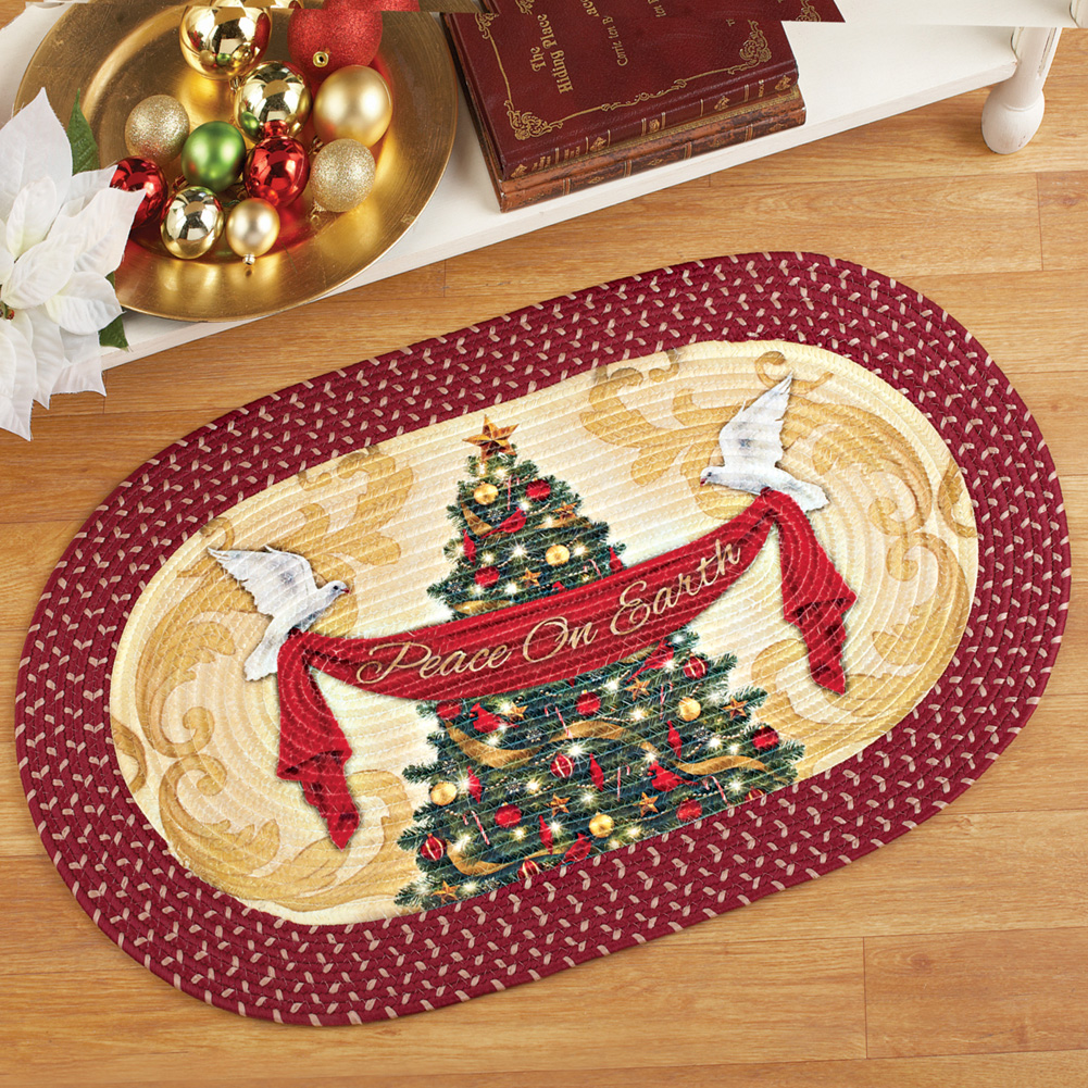 Christmas Tree and Doves Peace on Earth Area Braided Runner Rug