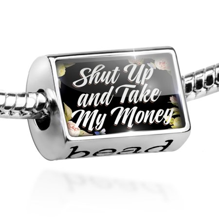 Bead Floral Border Shut Up and Take My Money Charm Fits All European (Shut Up And Take My Money Credit Card)