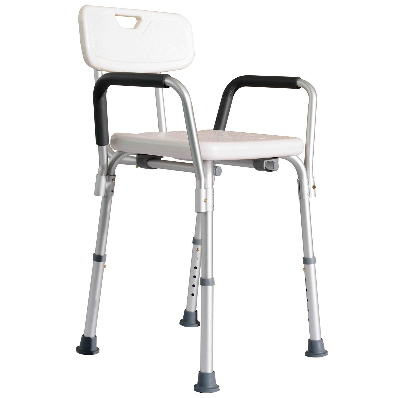 homcom adjustable medical shower chair w/ arms and backrest