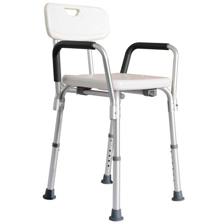 homcom adjustable medical shower chair w arms and