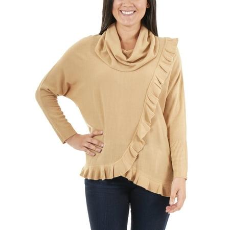 Ruffle Neck Wrap - Women's Faux Wrap Ruffle Cowl Neck Sweater